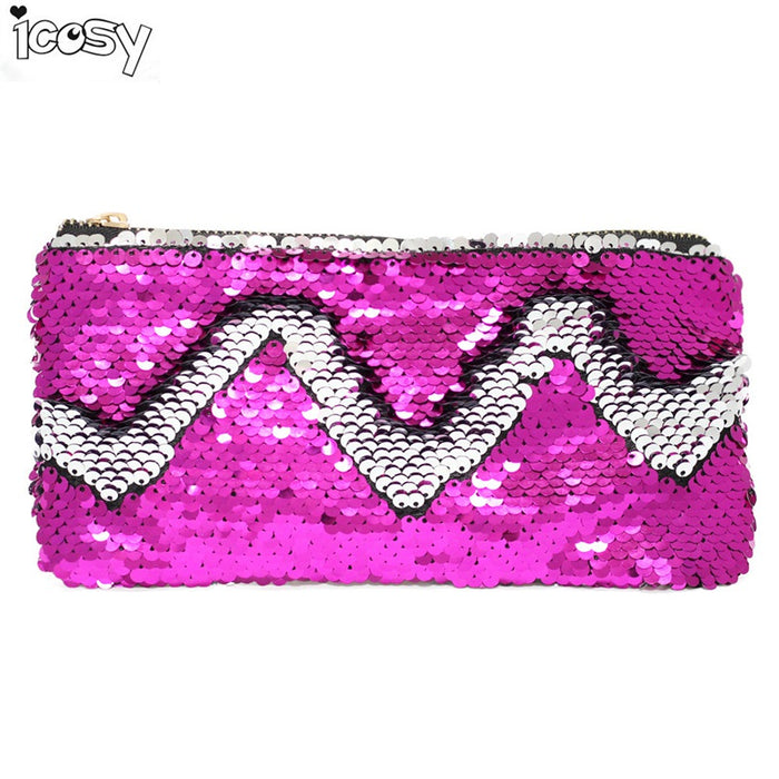 Storage Bags Cosmetic Girls Pencil Case Unisex Fashion High Quality Double Color Makeup Pouch Women Men's Sequins Pencil Bags 20