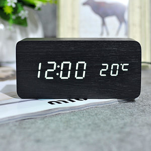 Wooden LED Date Time Temperature Display Table Alarm Clock