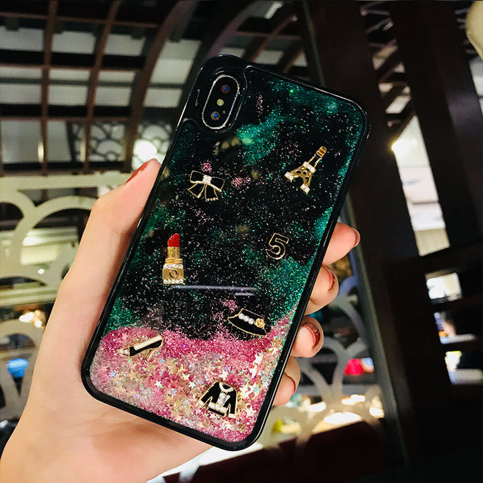 Girly Liquid Quicksand Animated Phone Case For iPhone