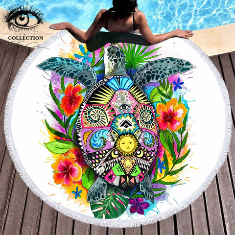 Turtle Life by Pixie Cold Art Large Round Beach Towel - Round Beach Towel | Ziloda