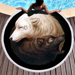 Yin and Yang Wolves by JoJoesArt Round Beach Towel for Adults Printed Microfiber With Tassel Bath Towel Black White Blanket
