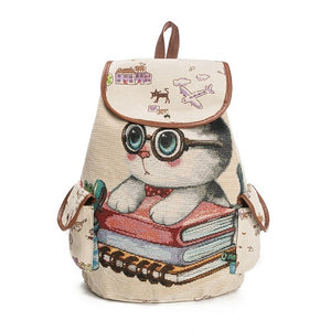 Casual Canvas Cat Printed Drawstring School Backpack - Backpacks | Ziloda
