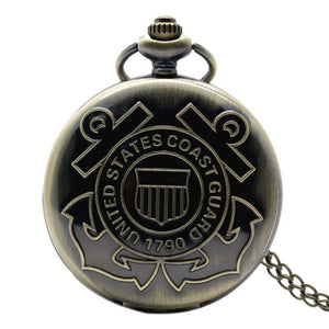Top Gifts U.S Army Navy Airforce Marine Corps Coast Guard 1790 Men's Quartz Pocket Watch Retro Bronze Firefighter Necklace Chain -  | Ziloda