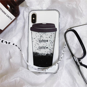 Coffee Cup Liquid Quicksand Silicone Cover For iPhone X 8 Plus 7 Plus 6 6S Plus Phone Case - Phone Pouch | Ziloda