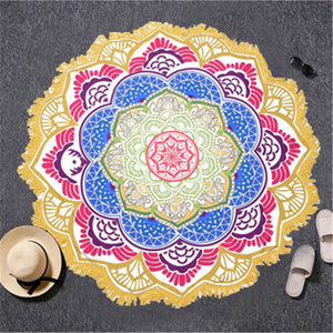 Indian Toalla Mandala Tapestry Beach Towel - Round Beach Towel | Ziloda