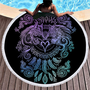 Wolves Heart by SunimaArt Round Beach Towel Woman Wolf Printed Microfiber With Tassel Towel Mat Black White Blanket Large Toalla - Round Beach Towel | Ziloda