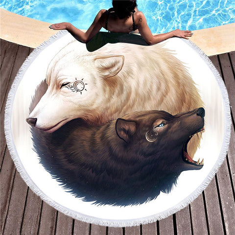 Yin and Yang Wolves by JoJoesArt Round Beach Towel for Adults Printed Microfiber With Tassel Bath Towel Black White Blanket - Round Beach Towel | Ziloda