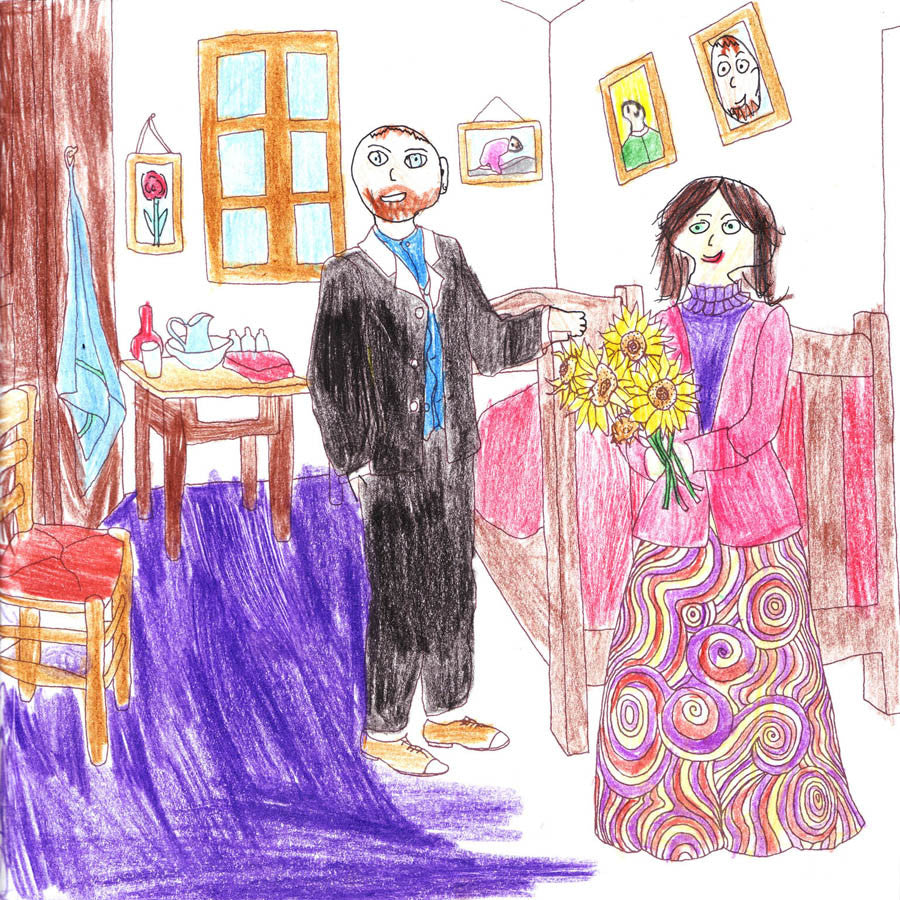 Van Gogh's bedroom colouring in