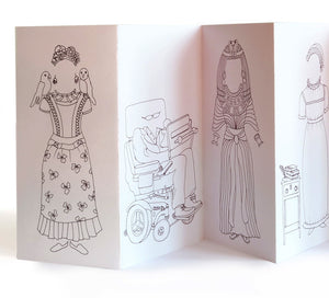 Rosie Flo's Frida Kahlo, Stephen Hawking, Cleopatra colouring concertina