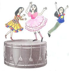 Rosie Flo's Music colouring book dancing on drum