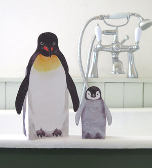 Pop Up Pet Penguin mother and baby in bathroom