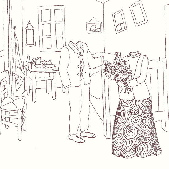 Van Gogh's bedroom colouring page
