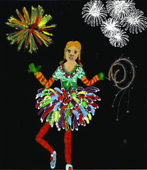 Rosie Flo's Night-time colouring book black paper firework dress