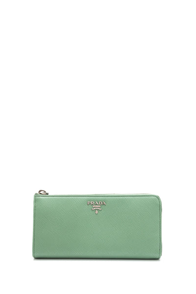 Saffiano Metal Half Zip Around Wallet