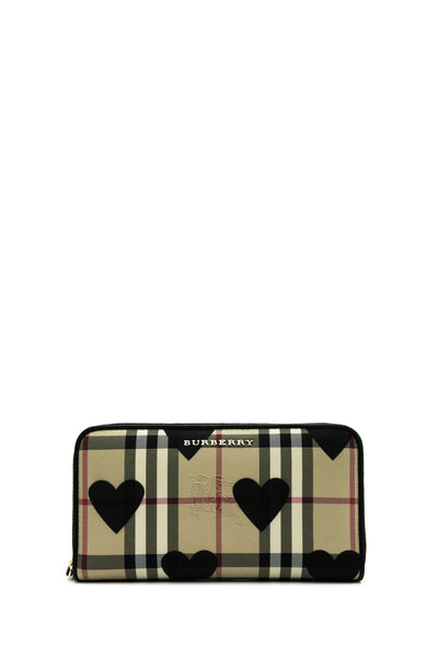 Horseferry Check Hearts Zip Around Wallet