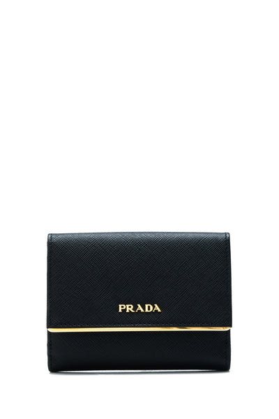 Saffiano Metal Short Flap Wallet