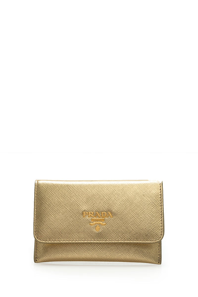 Saffiano Metal Card Holder Wallet