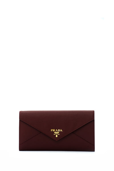 Saffiano Letter Long Flap Wallet