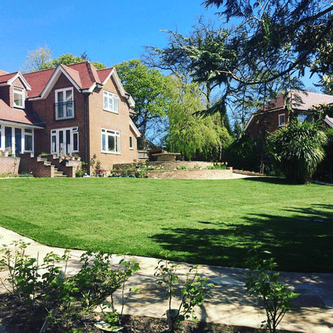 new home with beautiful lawn to add kerb appeal