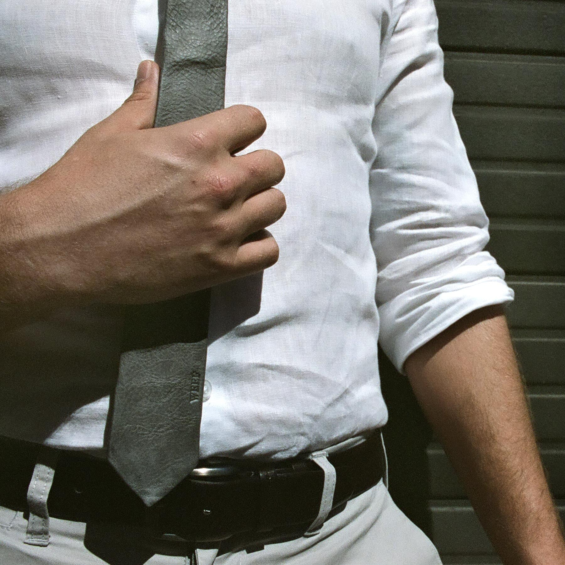 Model No.1 – Pepper Grey - WEEF | Handmade Leather Ties - 3