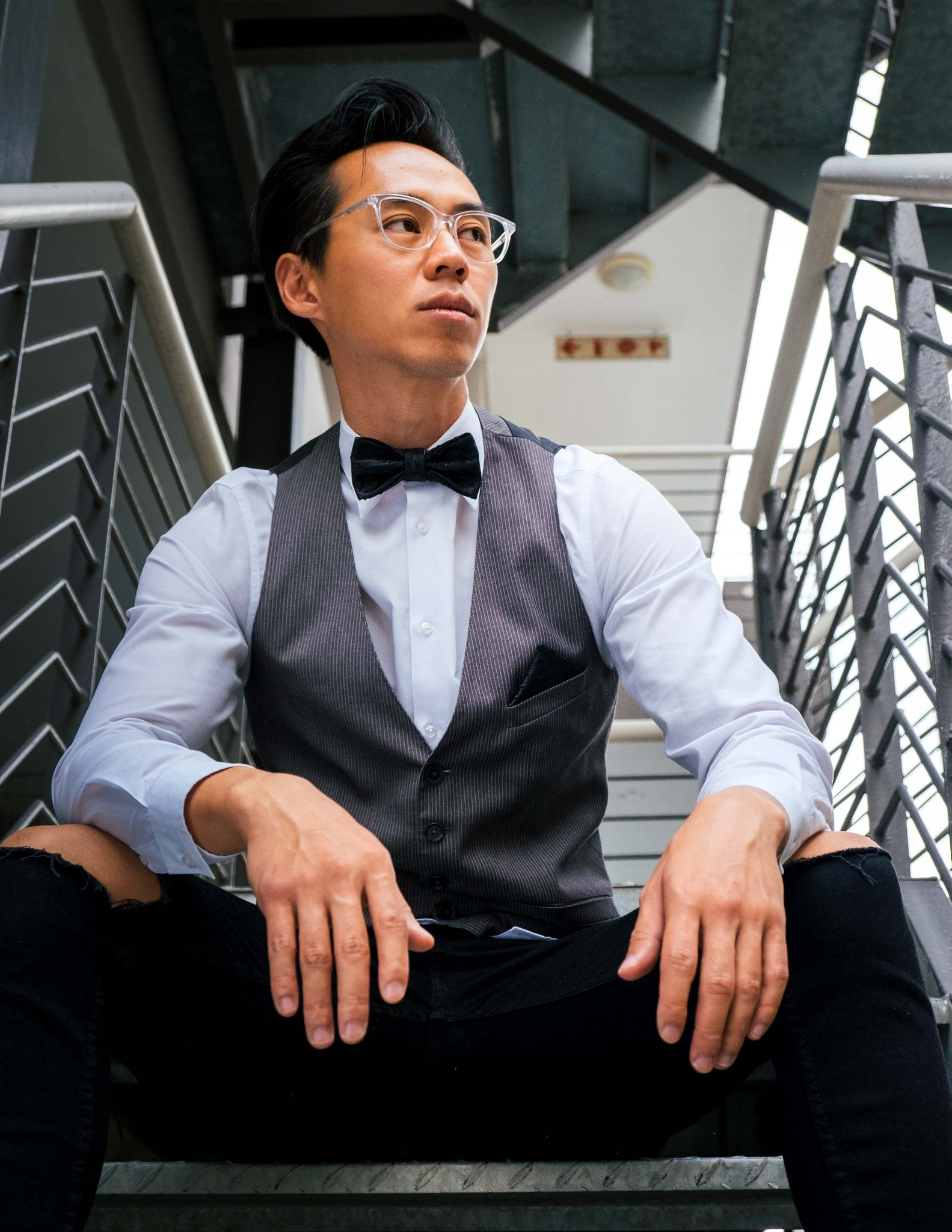 BOW TIE NO.2 – BLACK OSTRICH