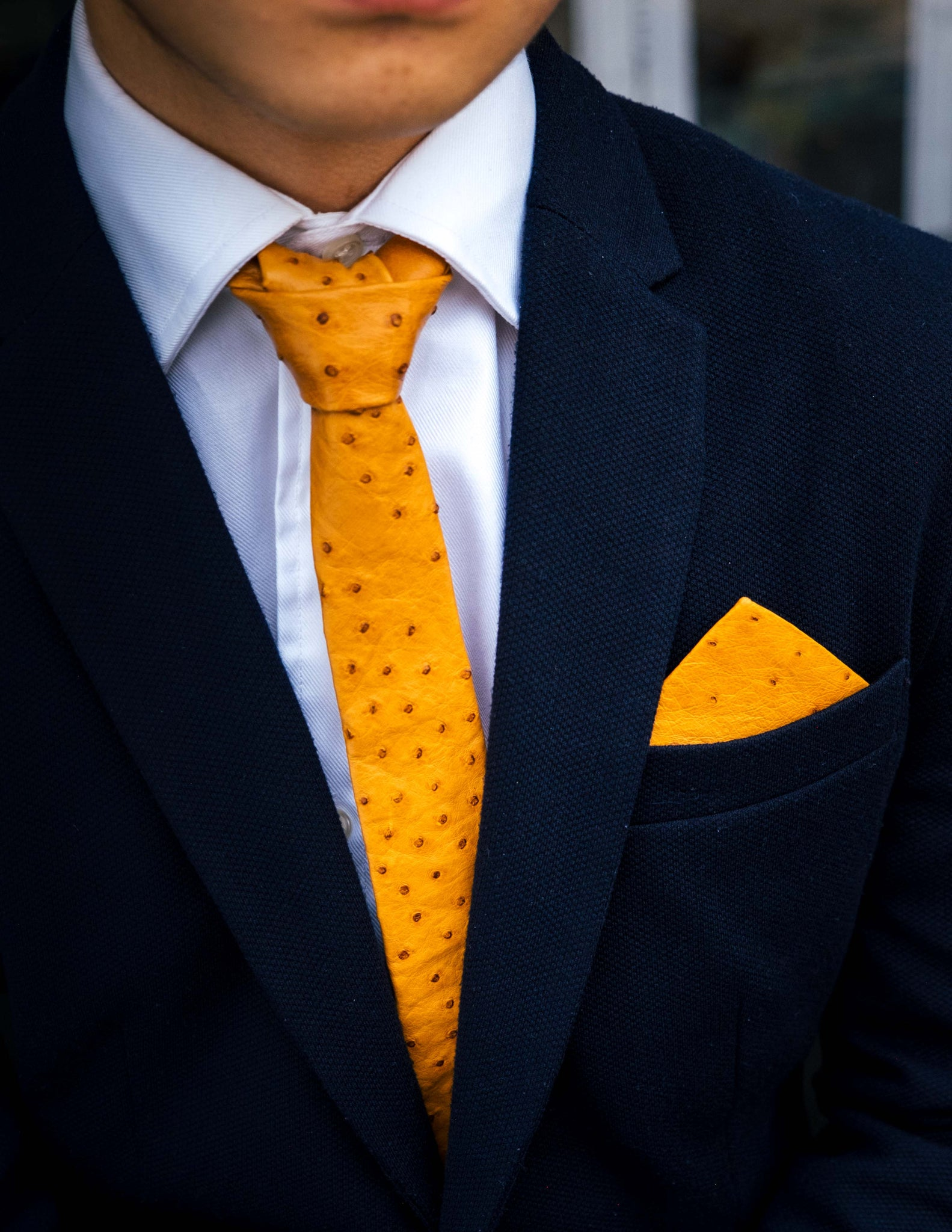 POCKET SQUARE NO.2 – TOBACCO OSTRICH