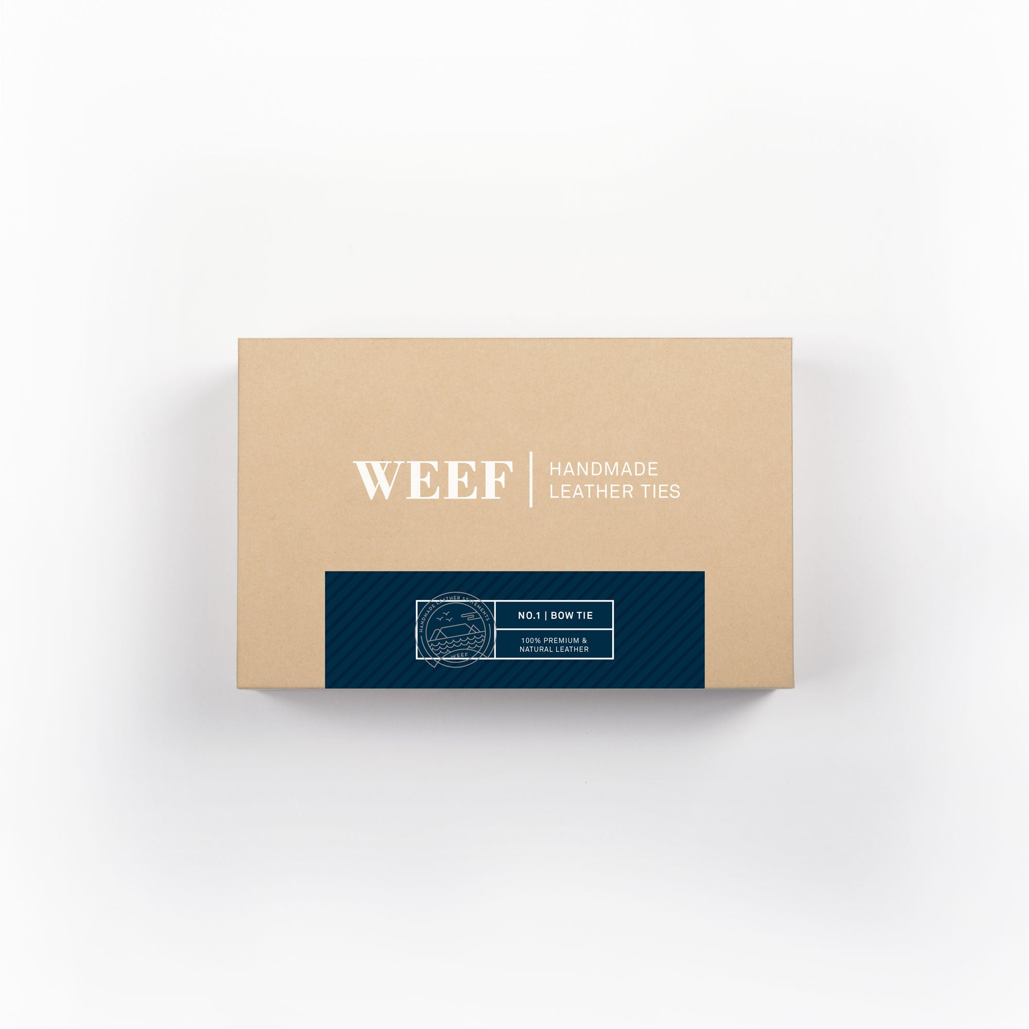 This is the premium packaging box of the deep navy WEEF handmade leather bow tie.