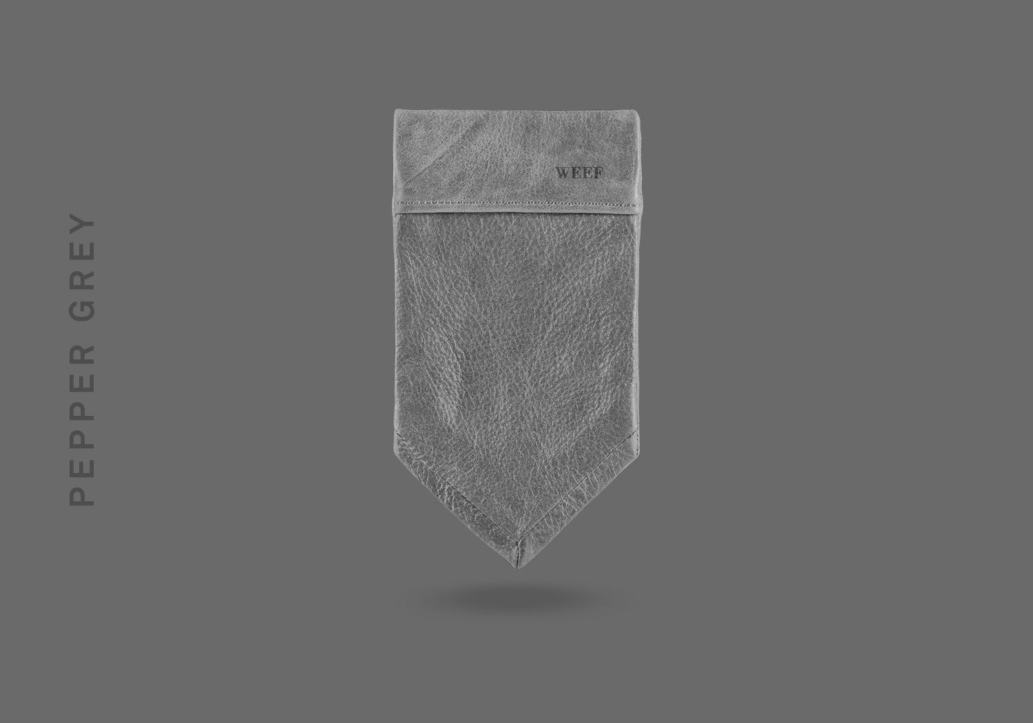 This pepper grey WEEF handmade leather pocket square is a great present or gift idea for dapper and stylish gentlemen for fathers day, valentines day or Christmas.