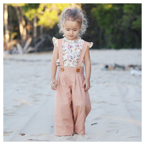 Pleated Suspender Pants in Caramel