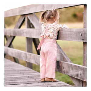 Pleated Suspender Pants in Dusty Pink