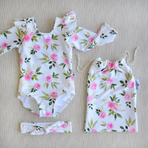 Long Sleeve flutter Swimsuit in Classy Rose