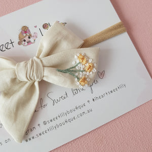 Baby Blooms Bow Hand Embroidered Headband