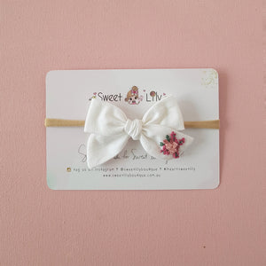 Garden Baby Bow Hand Embroidered Headband