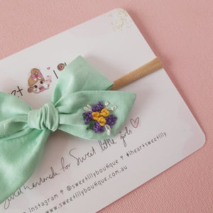 Minty Baby Bow Hand Embroidered Headband