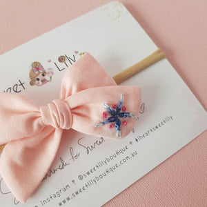 Star Baby Bow Hand Embroidered Headband