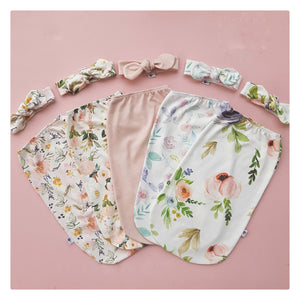 Ecru Blooms | Swaddle Pouch and Top knot set
