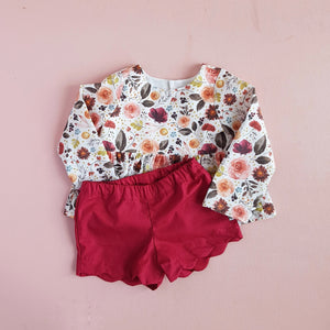 Peplum Top in Autumn Floral
