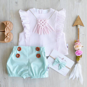 Mint Button Shorties