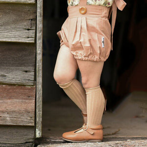 Camel Ribbed cotton knee-high socks