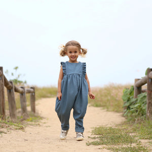 Ruffle Jumpsuit in Dusty Blue Linen