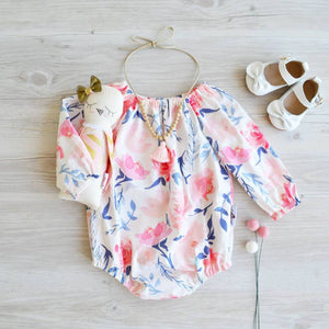 Long Sleeve Romper in Peach and navy floral