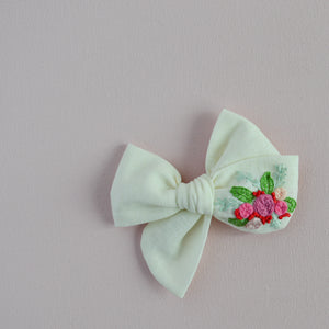 Pinwheel Hand Embroidered Bow - Lemon Delight