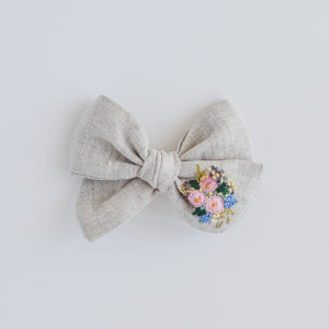 Hand Embroidered Pinwheel Bow - Blooms