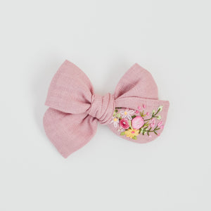 Hand Embroidered Pinwheel Bow - Pink Delight