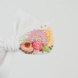 Hand Embroidered Pinwheel Bow - Large Floral