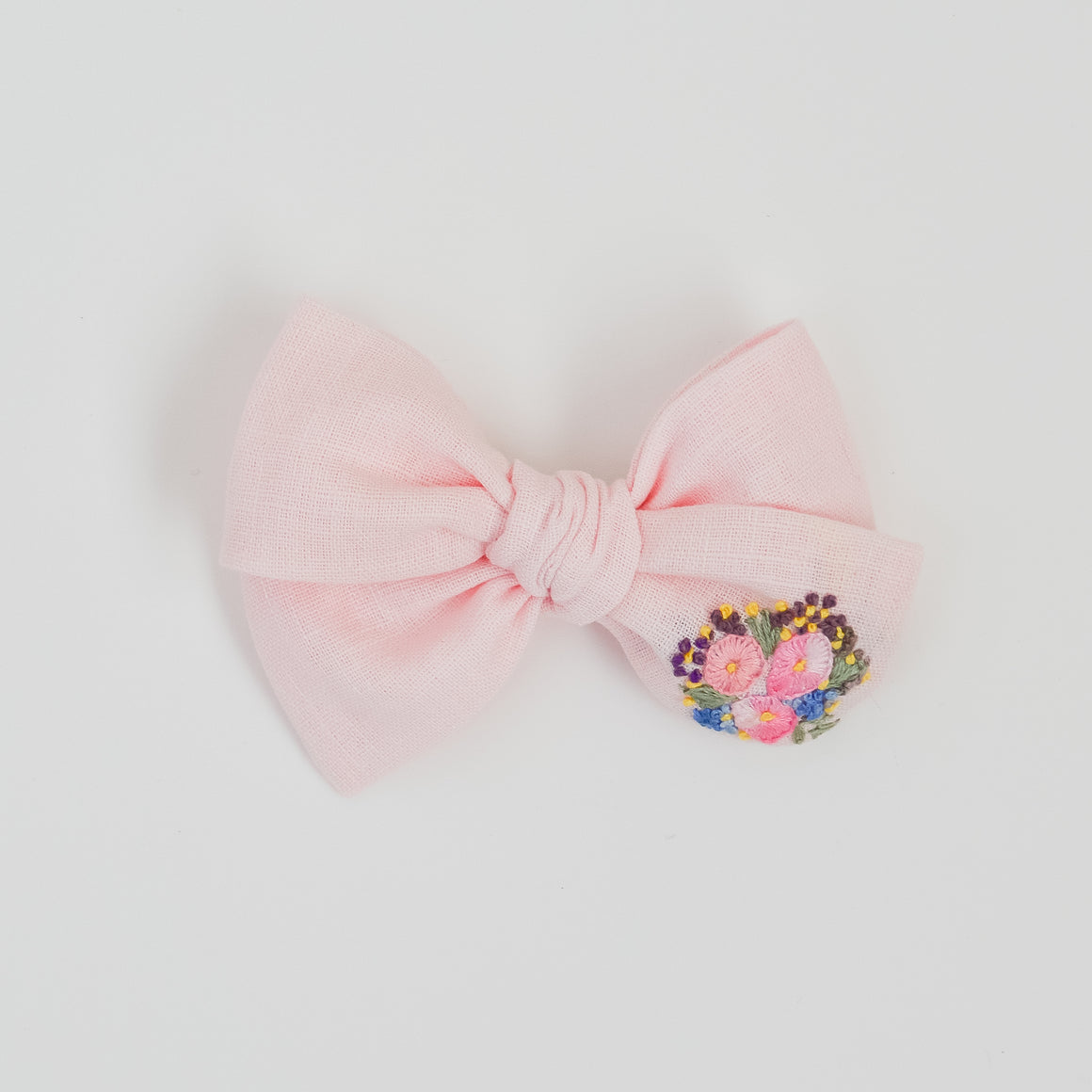 Hand Embroidered Pinwheel Bow - Baby Pink Blooms