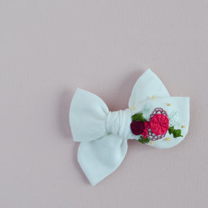 Pinwheel Hand Embroidered Bow - Merry Christmas