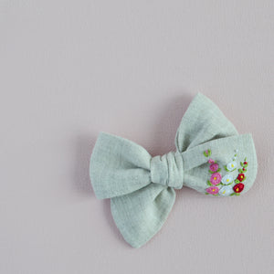 Pinwheel Hand Embroidered Bow - Spring Hollyhocks