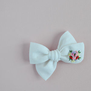 Pinwheel Hand Embroidered Bow - Baby Blooms