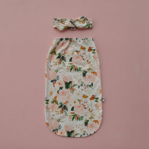 Magnolia Florals | Swaddle Pouch and Top knot set